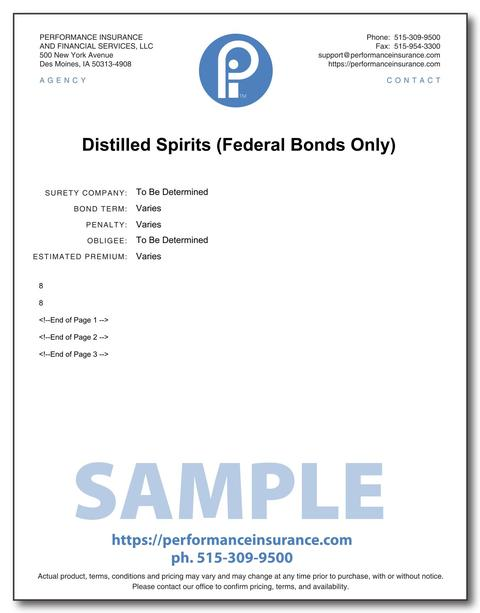 Distilled Spirits (Federal Bonds Only). This product has multiple versions. Please select one using the Choose a Version box.