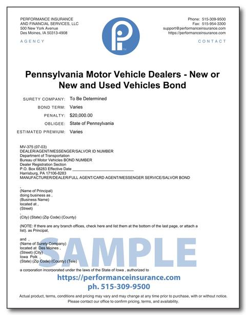Pennsylvania Motor Vehicle Dealers - New or New and Used Vehicles Bond. This product has multiple versions. Please select one using the Choose a Version box.