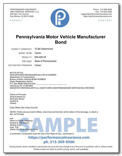 Pennsylvania Motor Vehicle Manufacturer Bond. This product has multiple versions. Please select one using the Choose a Version box.