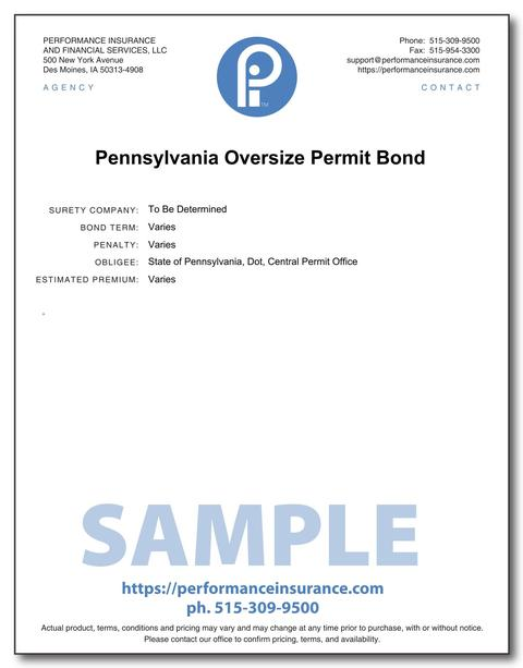 Pennsylvania Oversize Permit Bond. This product has multiple versions. Please select one using the Choose a Version box.