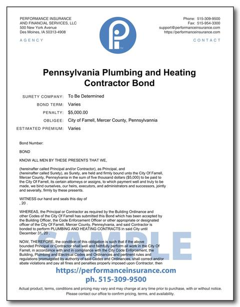 Pennsylvania Plumbing and Heating Contractor Bond. This product has multiple versions. Please select one using the Choose a Version box.