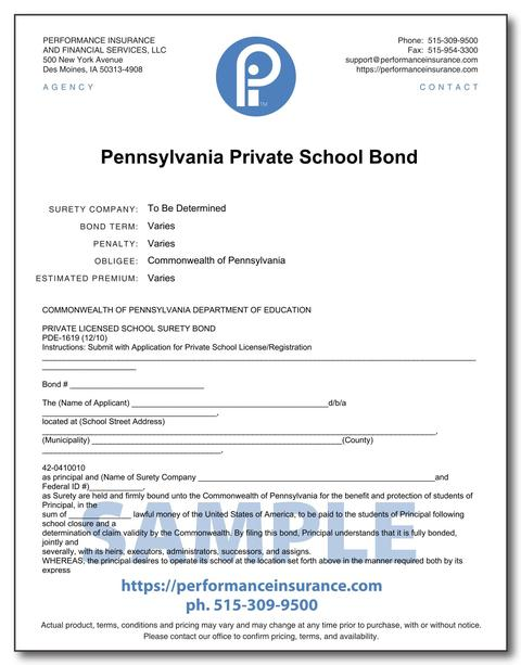 Pennsylvania Private School Bond. This product has multiple versions. Please select one using the Choose a Version box.
