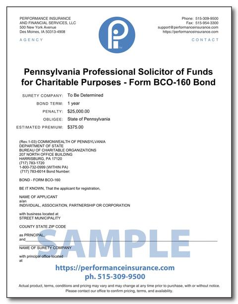 Pennsylvania Professional Solicitor of Funds for Charitable Purposes - Form BCO-160 Bond