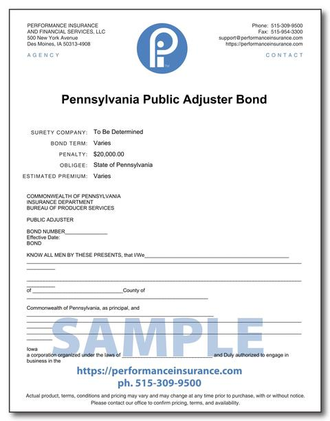 Pennsylvania Public Adjuster Bond. This product has multiple versions. Please select one using the Choose a Version box.