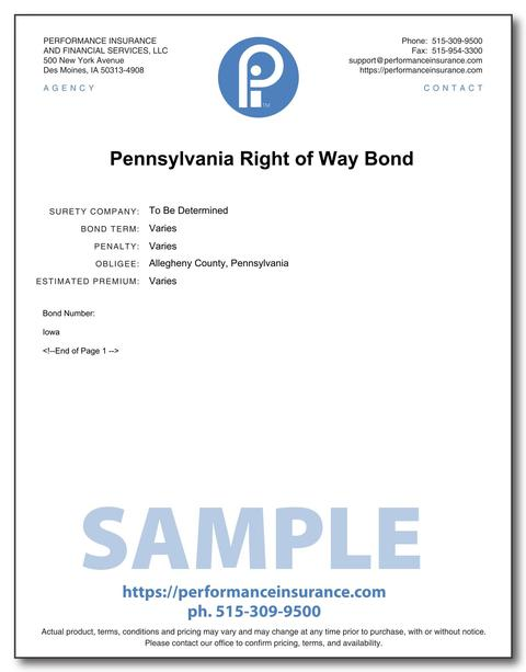 Pennsylvania Right of Way Bond. This product has multiple versions. Please select one using the Choose a Version box.