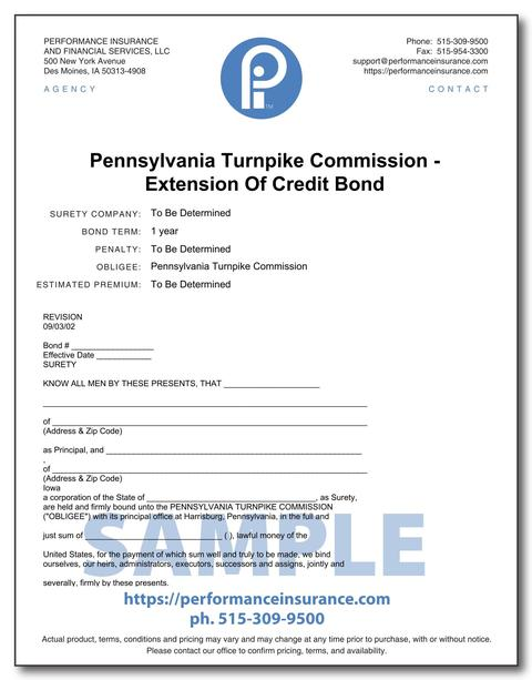 Pennsylvania Turnpike Commission - Extension Of Credit Bond