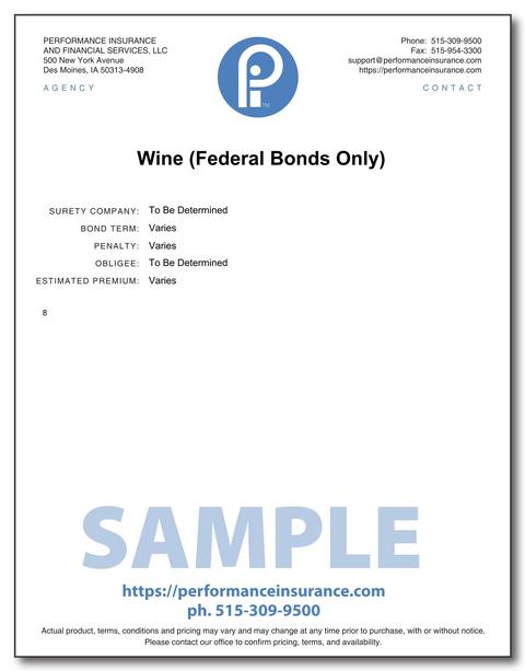 Wine (Federal Bonds Only). This product has multiple versions. Please select one using the Choose a Version box.